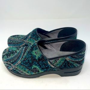 Dansko Clogs Shoes Vegan Paisley Green Blue 42